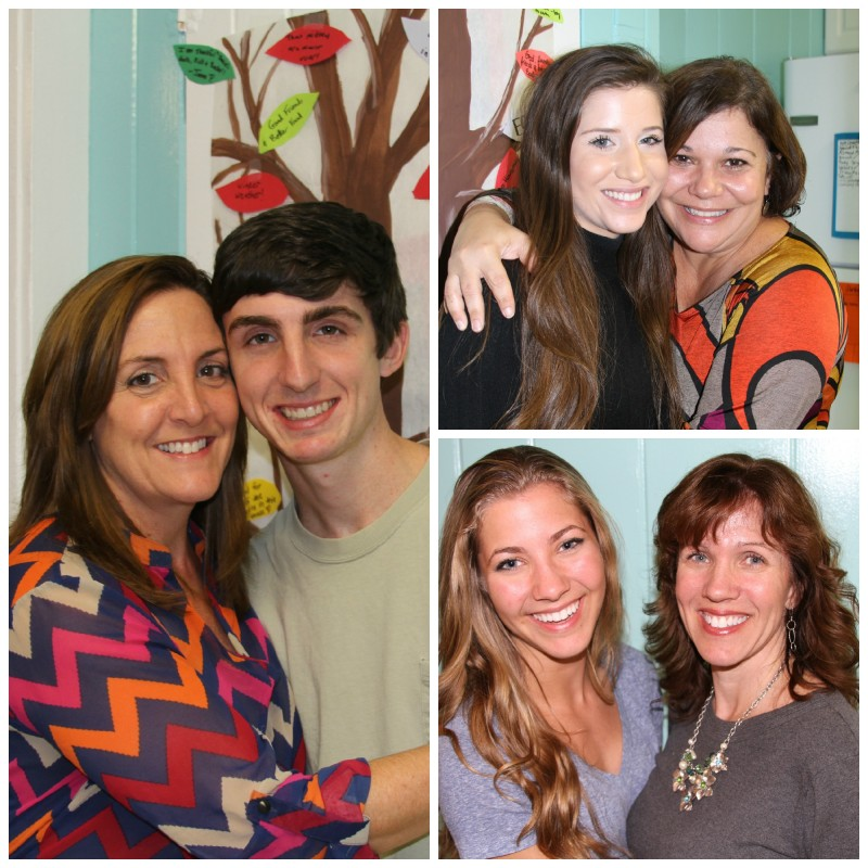Moms with their college student. (We missed you, Nick.)
