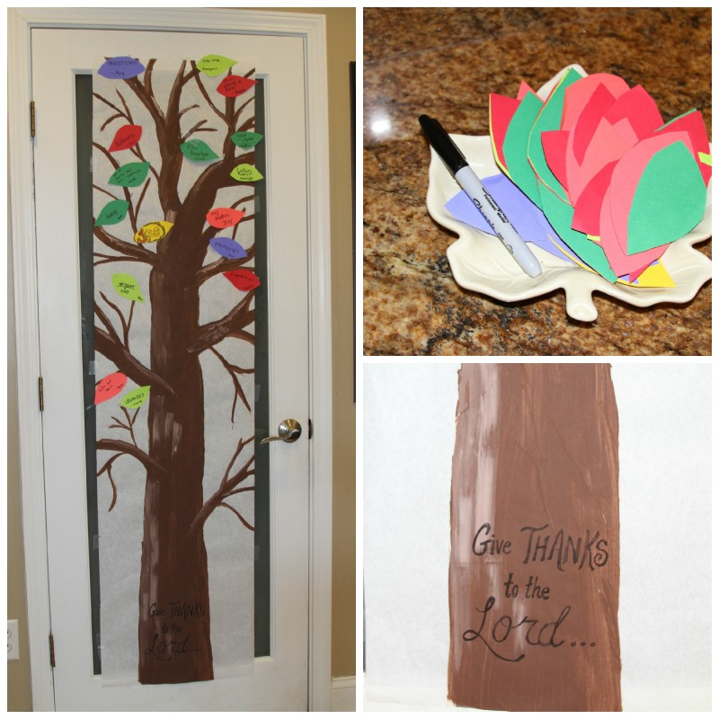 A homemade Thankfulness Tree with cut-out leaves to adhere to record your gratefulness. You can write your favorite verses onto leaves, onto the trunk and branches, and do devotionals this month on thankfulness. Enjoy.