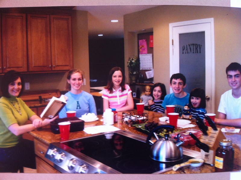 Devotions during mealtimes worked well for us. All six kids home. Boo hoo. I miss this.